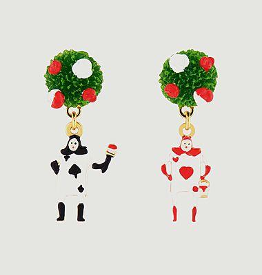 Boucles d'oreilles dépareillées buisson de roses et jeu de cartes
