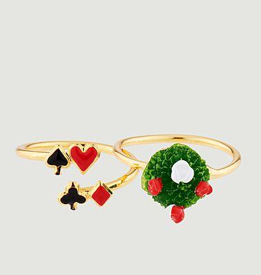Set de 2 bagues ajustables jeu de cartes et buisson de roses