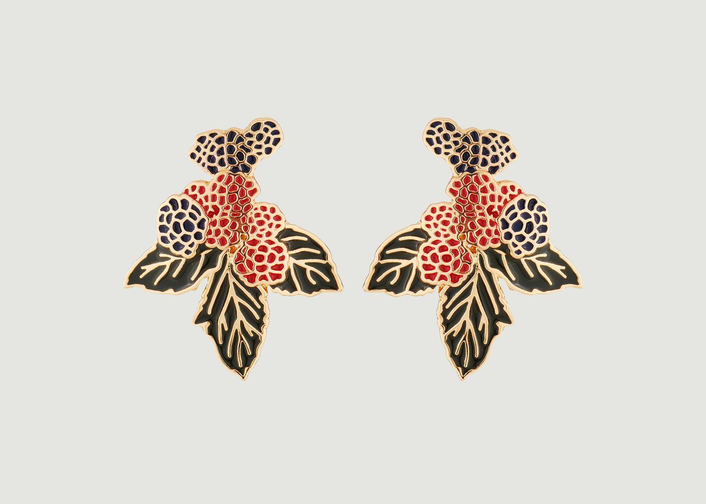 Boucles d'oreilles tiges mûres et framboises - N2