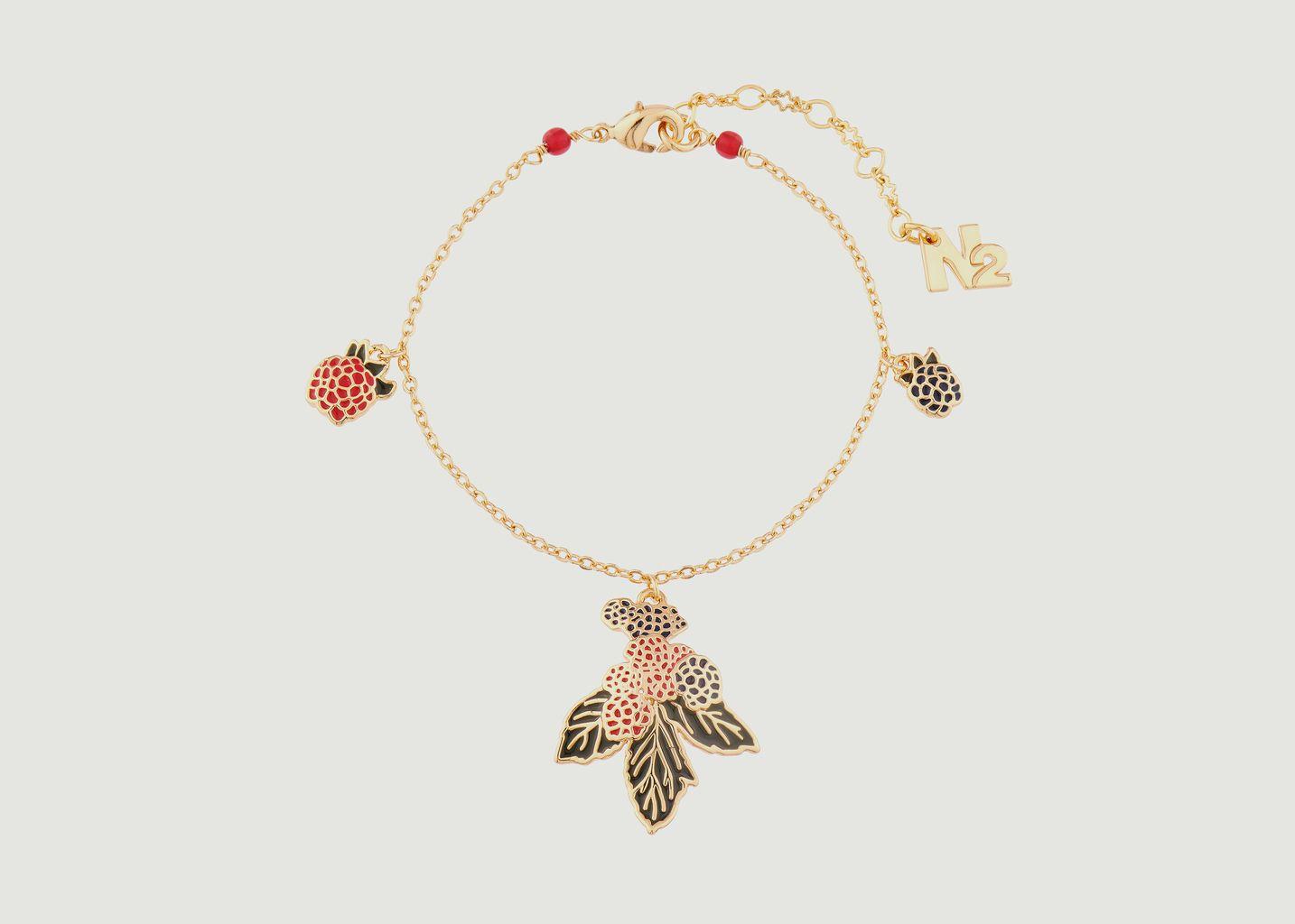 Bracelet fin avec charms mûres et framboises - N2