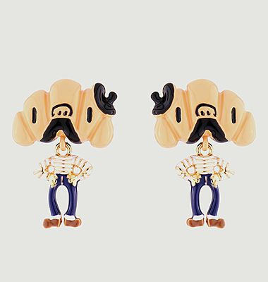 Monsieur Croissant dangling stud earrings