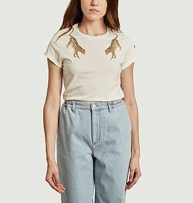 T-shirt imprimé en coton bio Léopard Face à Face