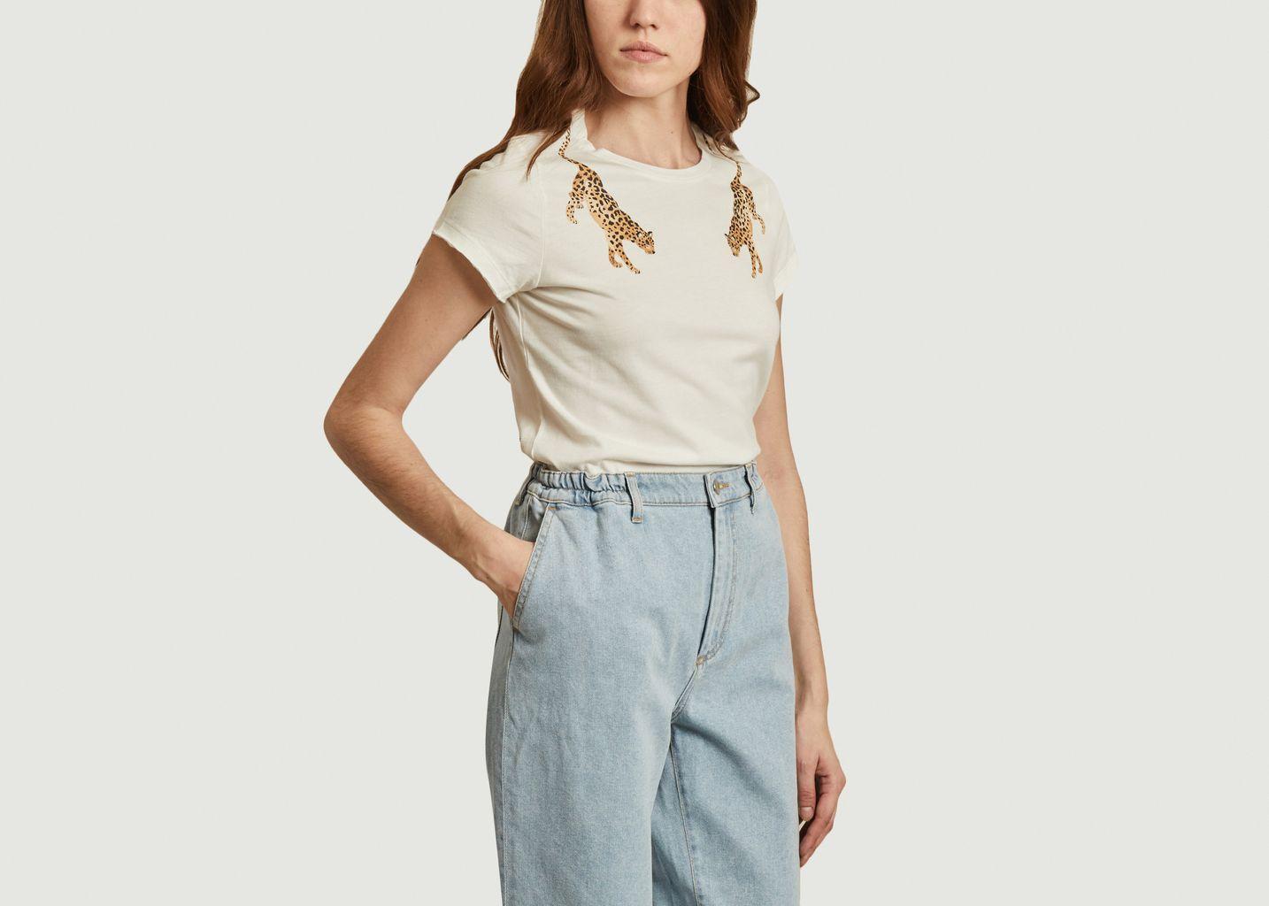 T-shirt imprimé en coton bio Léopard Face à Face - Nach