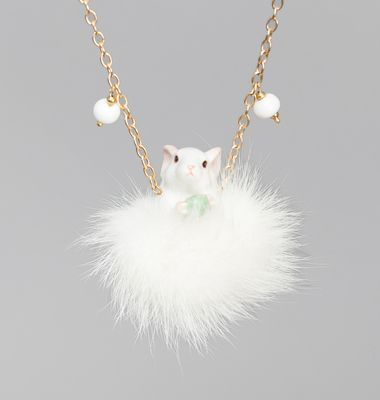 White Mouse Necklace