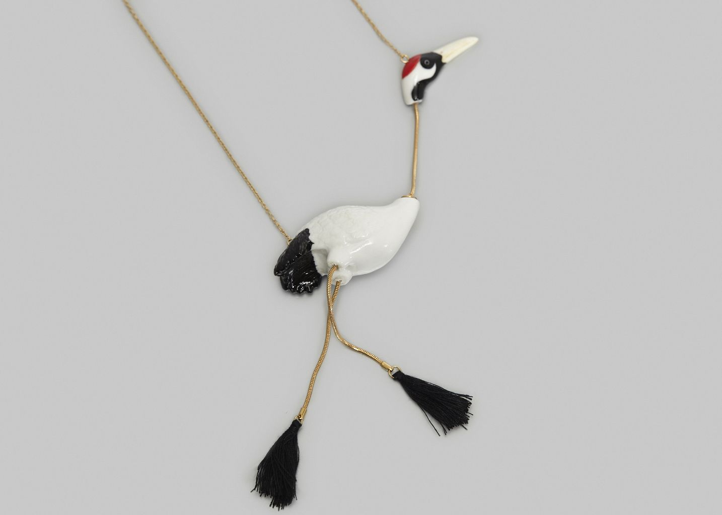 Red Crowned Crane Bird Necklace - Nach Bijoux