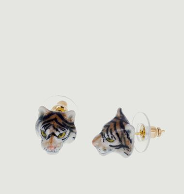 Mini Tiger Head Earrings