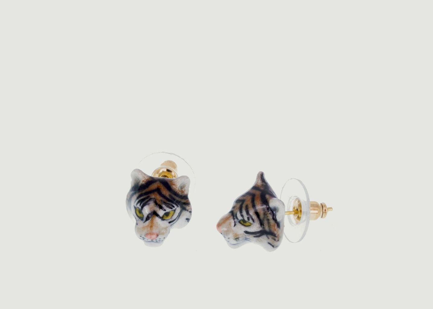 Boucles d'Oreilles Mini Tiger Head - Nach