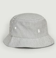 Bucket hat with seersucker stripes and logo