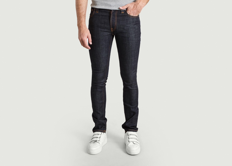 new Nudie Mens Slim Fit Raw Denim JeansThin Finn Organic Black Ring