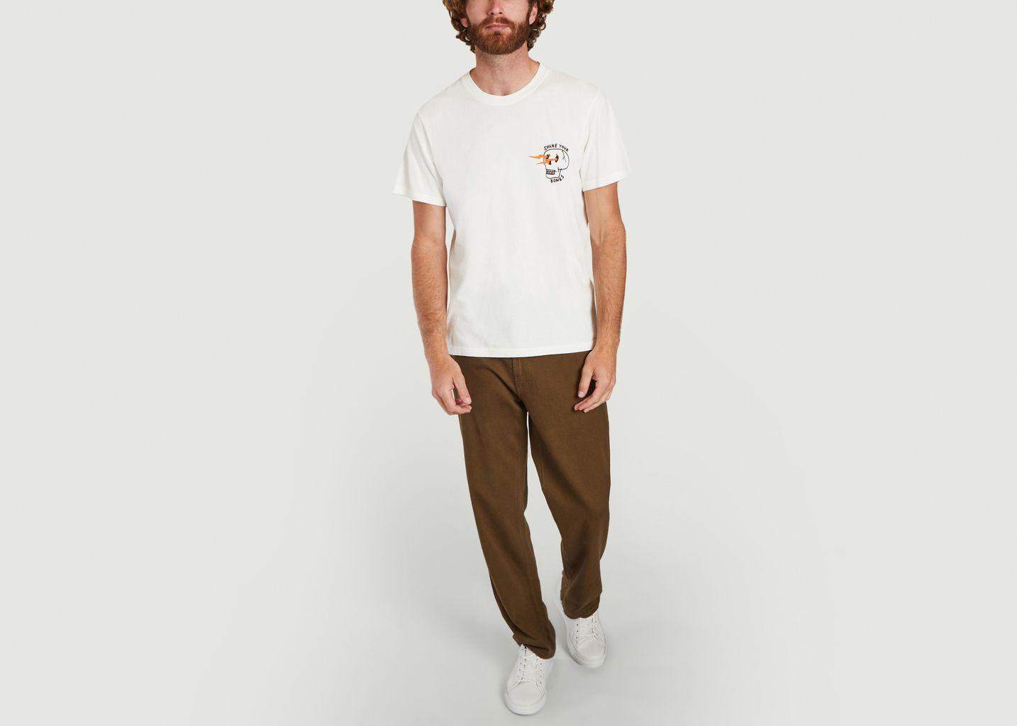 T-shirt Blanc Roy Shake Your Bones - Nudie Jeans