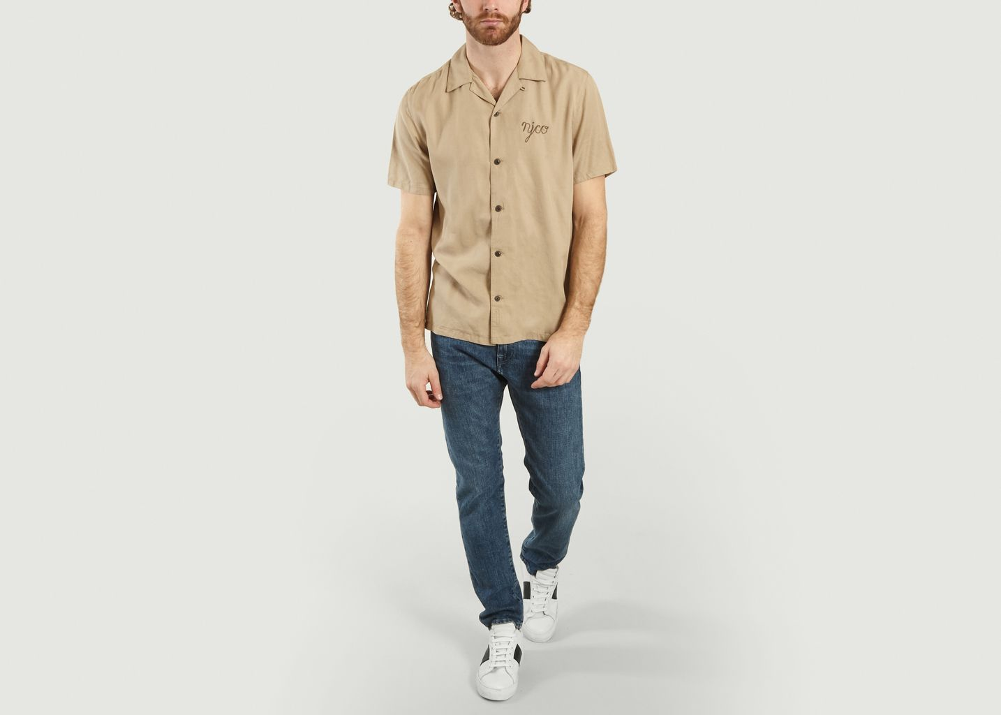 Chemise manches courtes à lettrage brodé Arvid - Nudie Jeans
