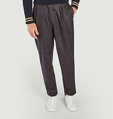 Pantalon à plis en laine à carreaux