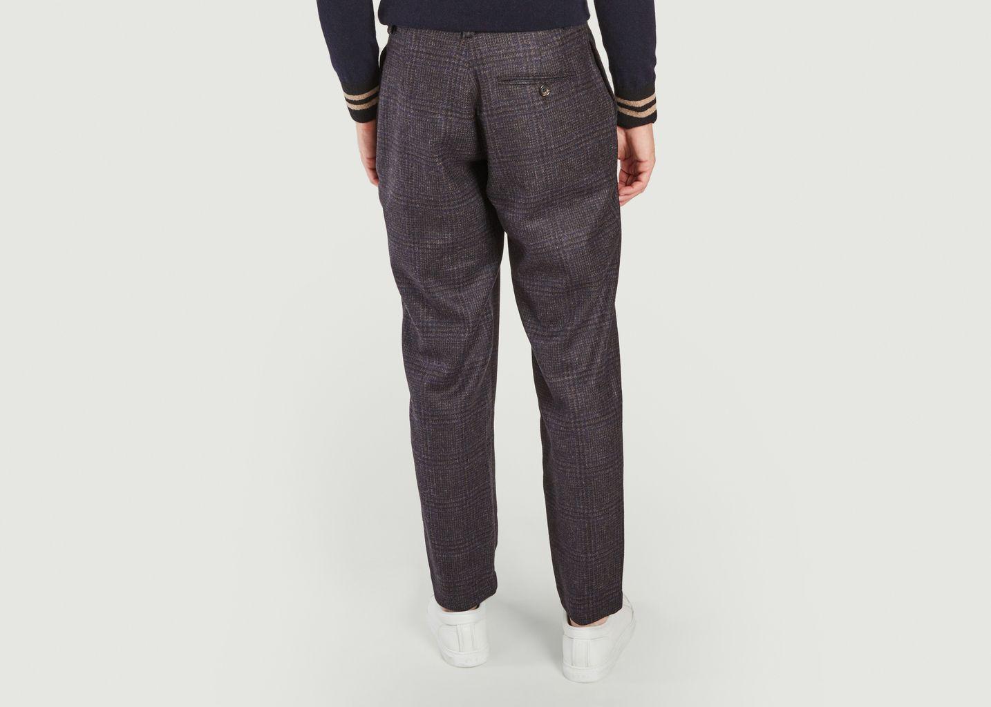 Pantalon à plis en laine à carreaux - Oliver Spencer