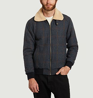 Blouson en laine à carreaux avec col effet fourrure Wander