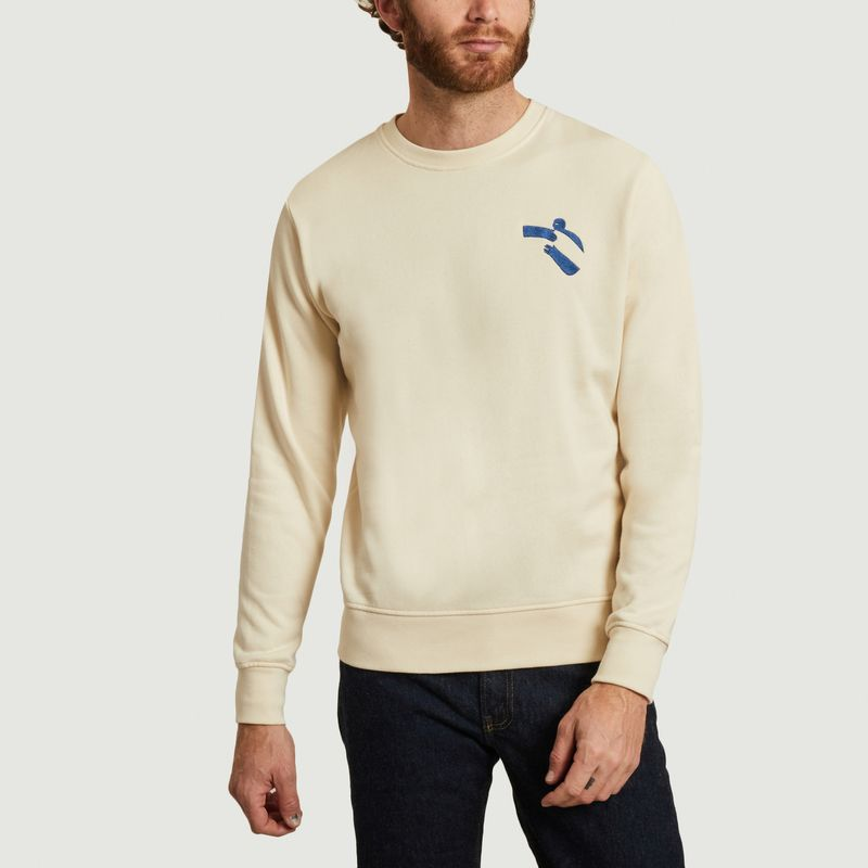 Sweatshirt en coton bio avec broderie Hug - Olow