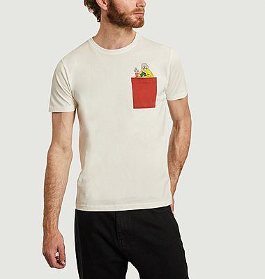T-shirt en coton bio avec poche et imprimé Mamy
