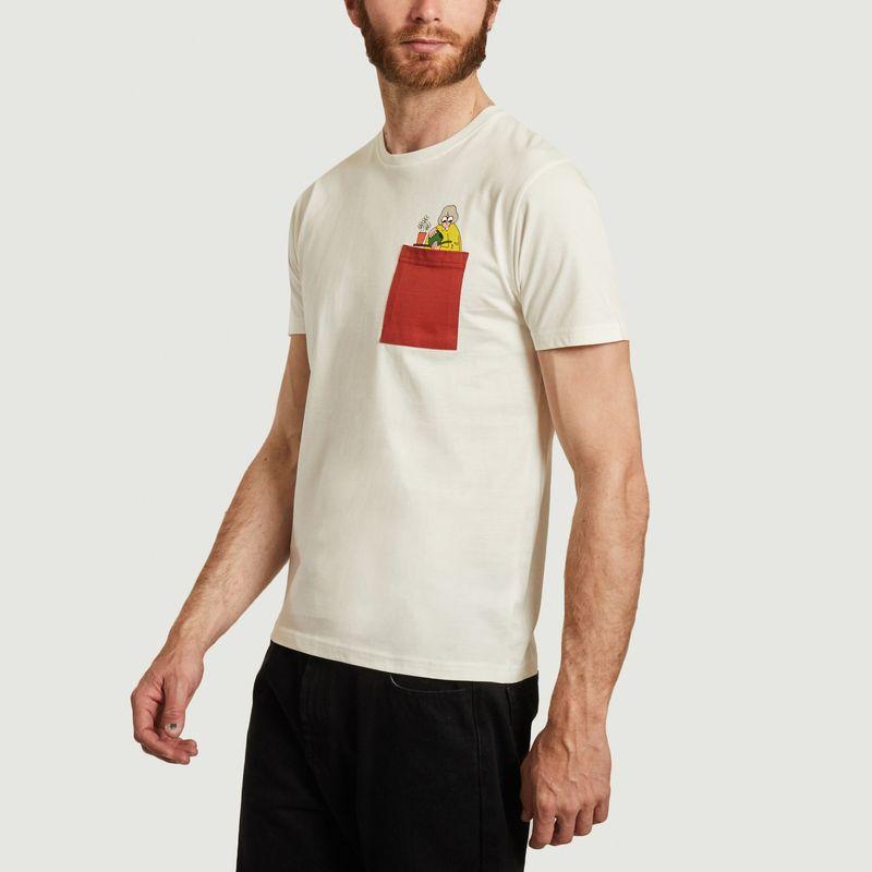 T-shirt en coton bio avec poche et imprimé Mamy - Olow