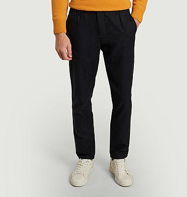 Pantalon chino en coton et laine