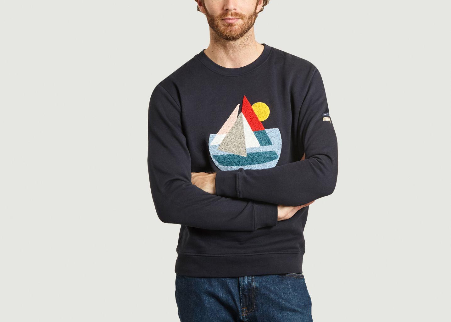 Sweatshirt brodé en coton bio Gremant Olow x Saint James - Olow
