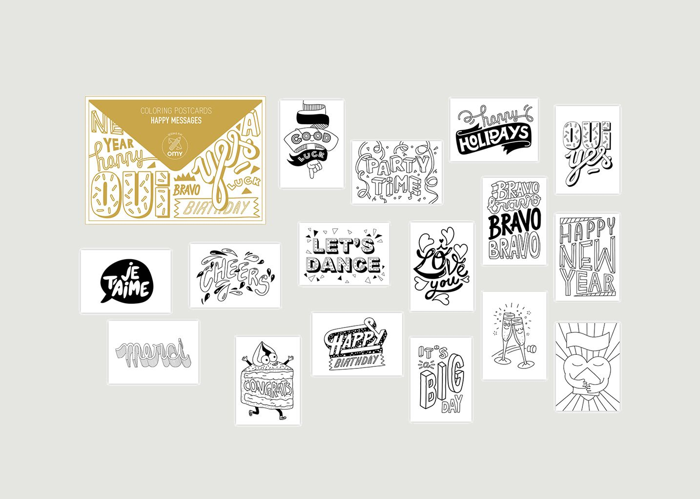 16 CARTES POSTALES A COLORIER - HAPPY MESSAGES - Omy