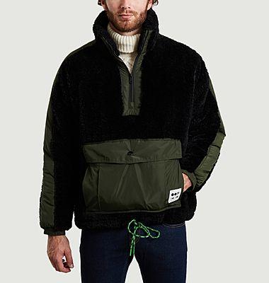 Sweatshirt 5018 oversize en fausse fourrure noir