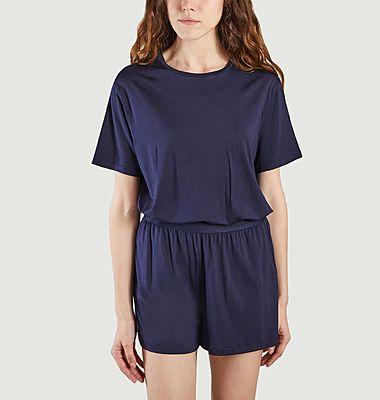 Robe t-shirt bleue légère en tencel