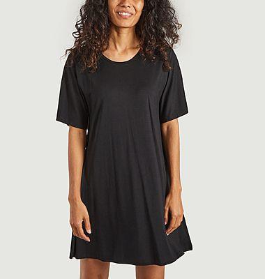 Robe t-shirt noire légère en tencel