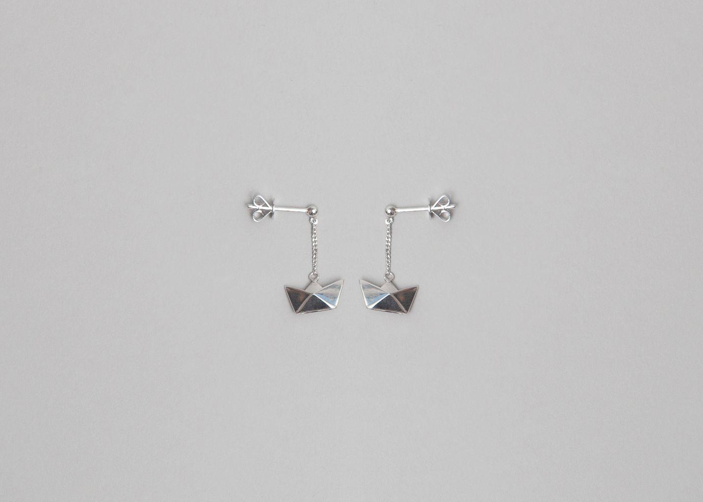 Boucles d'Oreilles Bateau Origami - Origami Jewellery