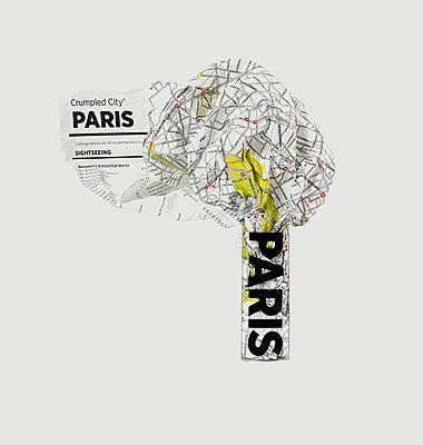 Paris crumpled city map