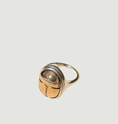 Bague argent et laiton doré scarabée