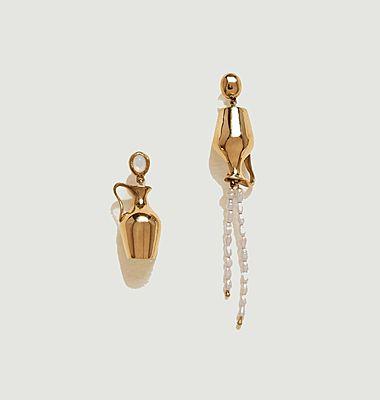 Boucles d'oreilles pendantes laiton plaqué or et perles Vessel