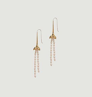 Boucles d'oreilles pendantes laiton plaqué or Anémone