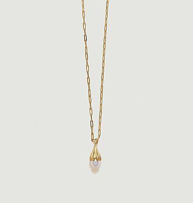 Collier laiton plaqué or et perle Anémone