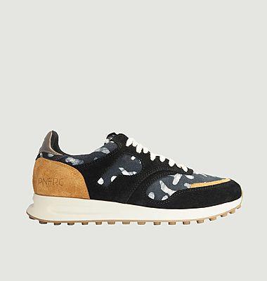 Sneakers de running cuir et tissu Arusha-Ebène