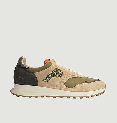 Sneakers de running cuir et tissu Arusha-Sable