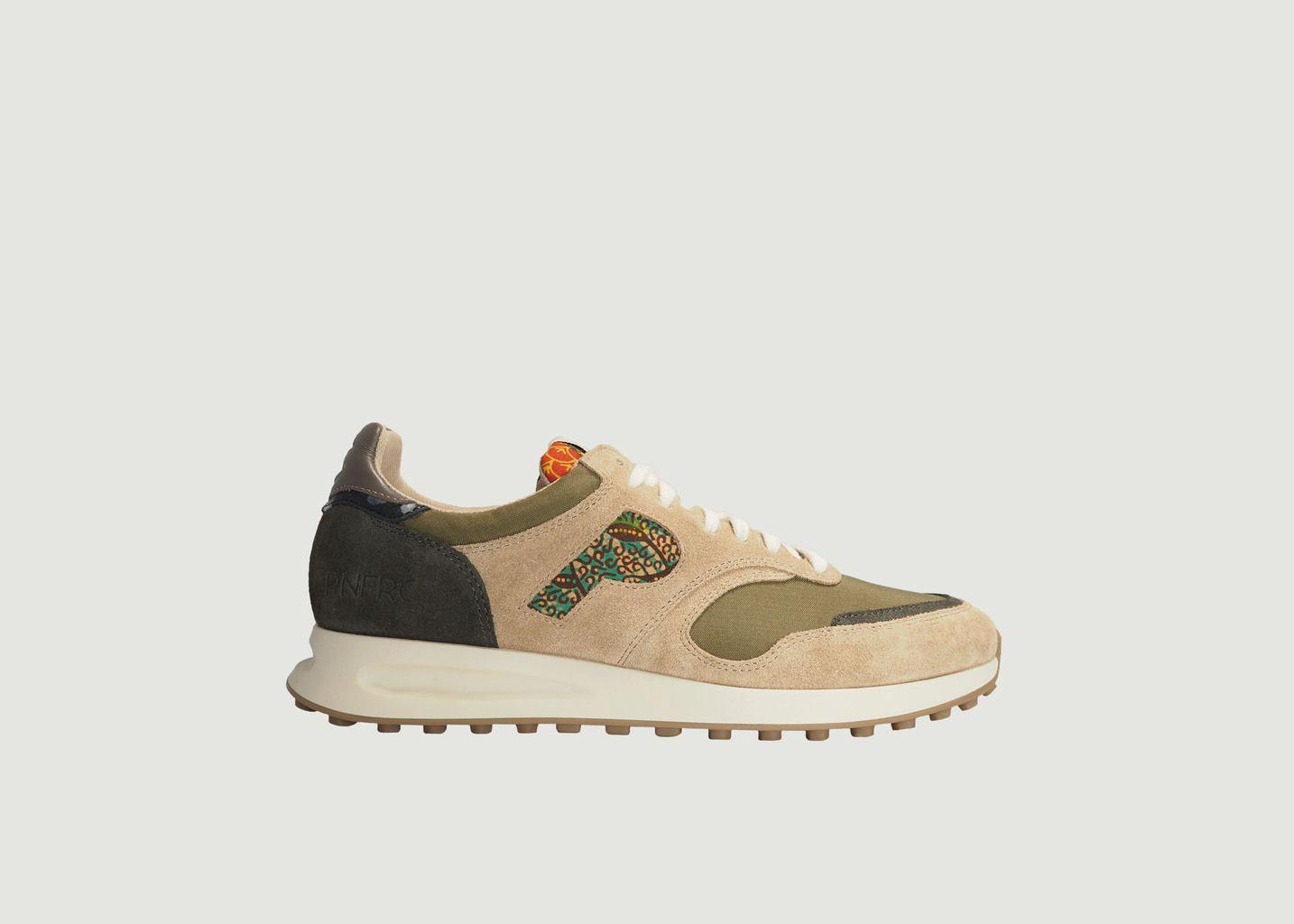 Sneakers de running cuir et tissu Arusha-Sable - Panafrica
