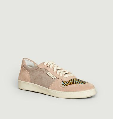 Sahara suede leather and canvas sneakers