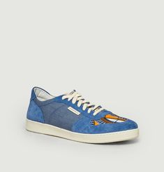 Sahara suede leather and denim sneakers