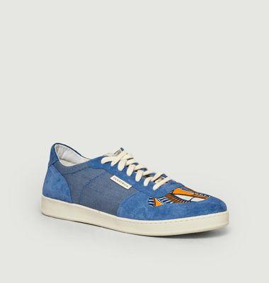 Sneakers daim et denim Sahara