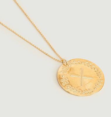 Collier médaille vermeil chaîne fine Lauriers à personnaliser