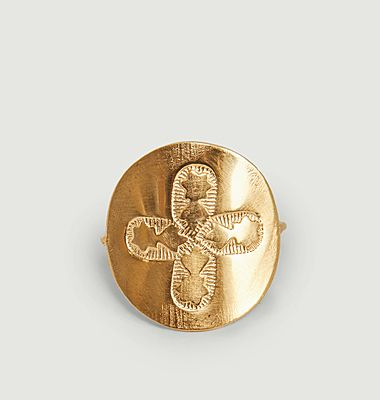 Bague vermeil Médaille Trèfle