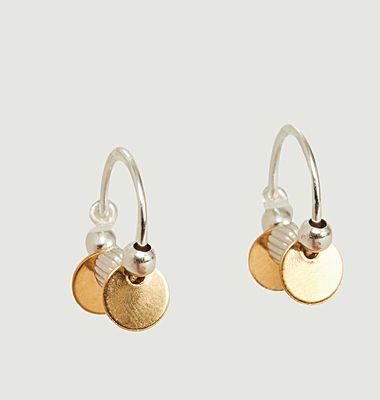 Boucles d'oreilles créoles vermeil et argent Louise