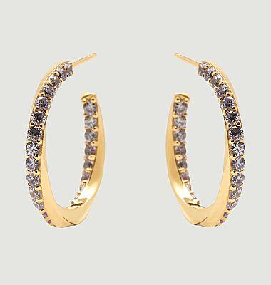 Boucles d'oreilles créoles en argent plaqué or Cavalier