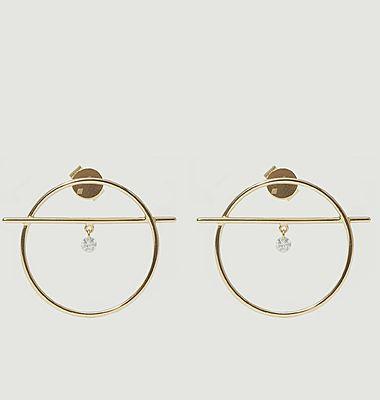 Boucles d'oreilles pendantes or et diamant Fibule XS