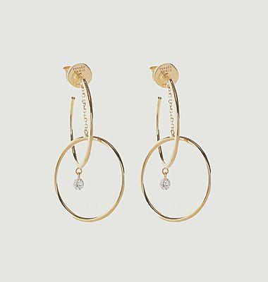 Boucles d'oreilles pendantes or et diamant Orbite Turn Around