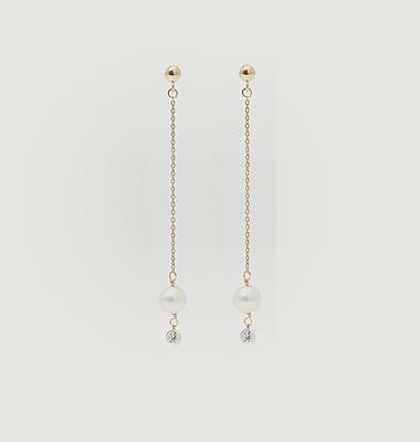 Boucles d'oreilles longues or, perle de culture et diamant Perlée