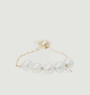 Bague en or, perles de culture et diamant Perlée