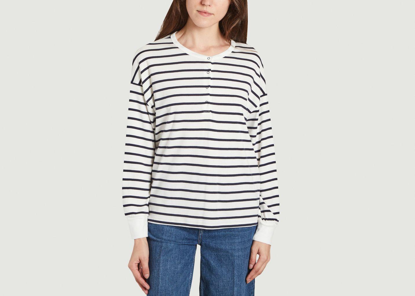 T-shirt marinière en coton col tunisien - Petit Bateau