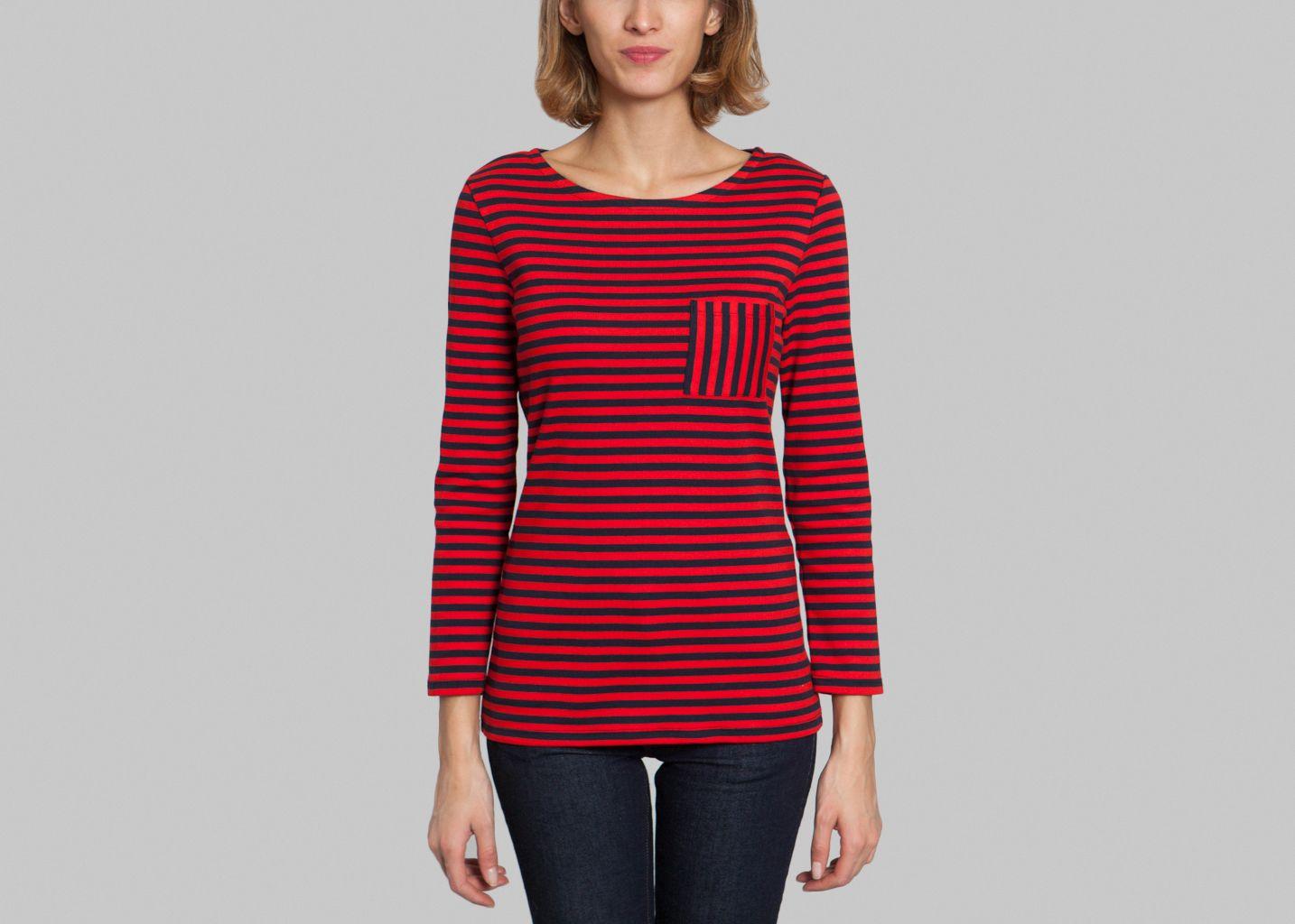Burkina t shirt petit bateau red l 39 exception for Petit bateau striped shirt
