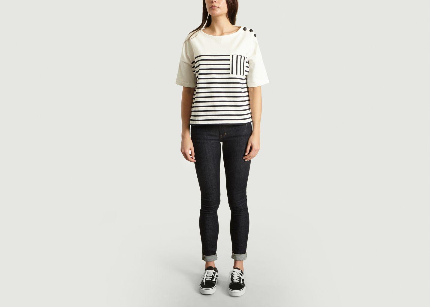 T-Shirt Marinière A Poche Et Boutons - Petit Bateau